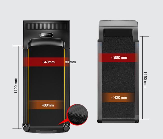 Kích thước băng tải máy chạy bộ điện
